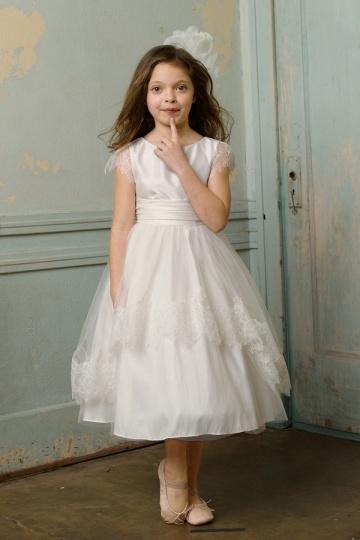 Elegantes weißes Kleider für Mädchen zur Kommunion aus Taft
