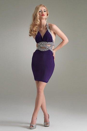 Sexy lila kurzes V Ausschnitt Abendkleider