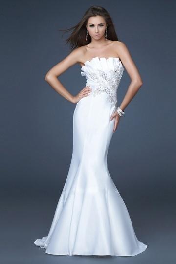 Langes weißes Meerjungfrau Stil Abendkleider