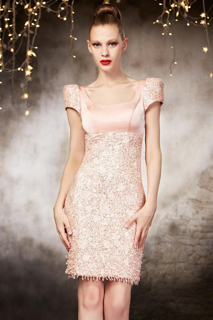 Schönes kurzes rosa Abendkleider