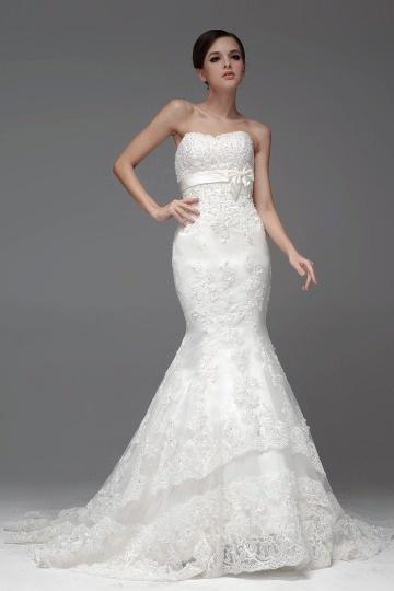 Langes weißes Meerjungfrau Stil Brautkleider