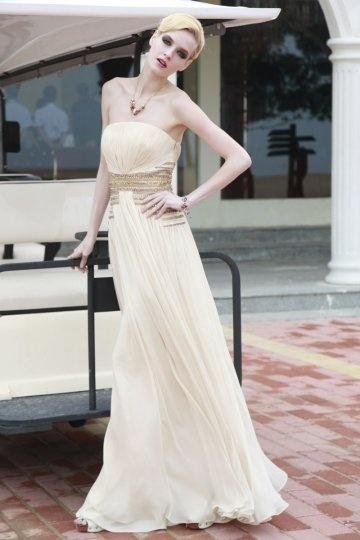 Schönes langes trägerloses A Linie Abendkleid