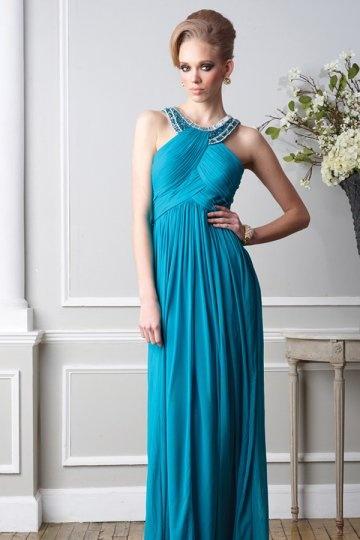 Elegantes langes blaues Abendkleid