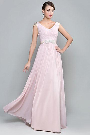 Schönes langes rosa A Linie Abendkleider
