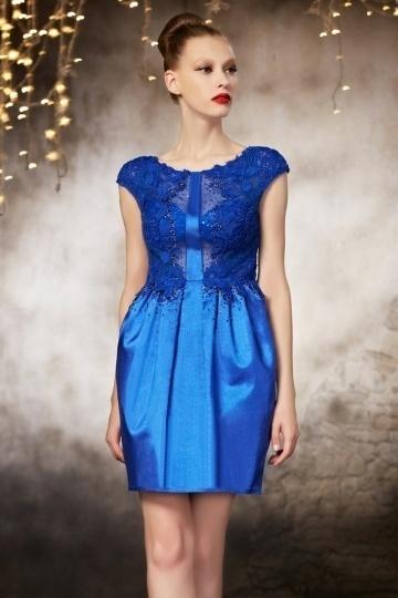 Elegantes kurzes blaues Etui Linie Abendkleider