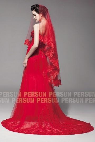 Chic rotes Hochzeitskleid