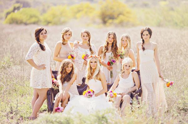 Schöne Brautjungfernkleider in Weiß aus Spitze 2015
