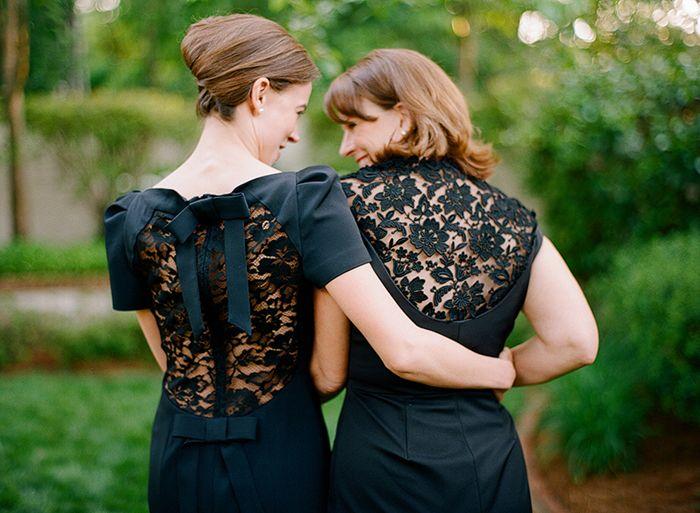 Schwarze Brautjungfernkleider aus Spitze