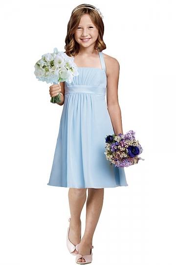 Modisches Blaues Blumenmädchenkleid Billig Sale
