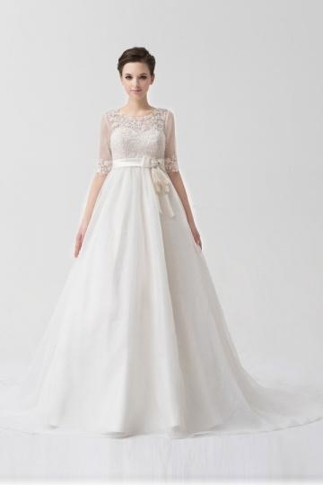 Schönes Brautkleider für Schwangere mit Empire Taile