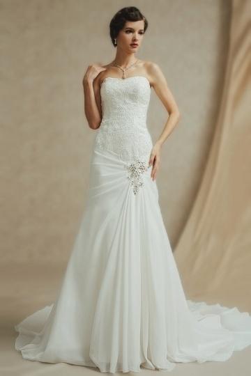 Elegantes Etui Linie weißes Brautkleider