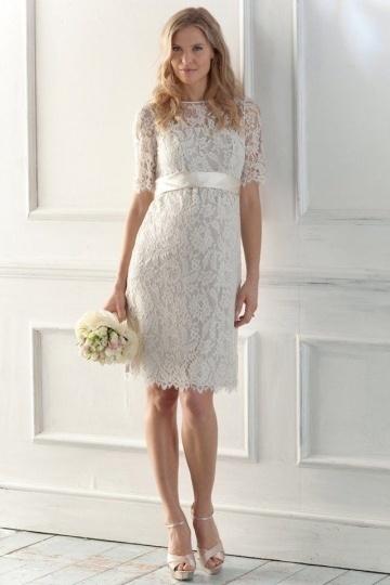 Schönes Weißes Knielanges Brautkleider mit Ärmel