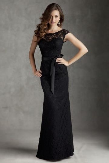 Schönes Spitzes Schwarzes Langes Abendkleider