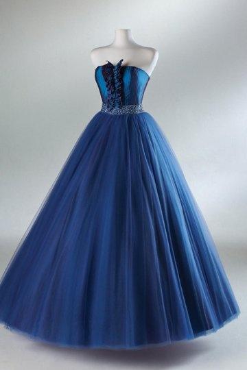 Schönes langes Blaues Trägerloses Abendkleider