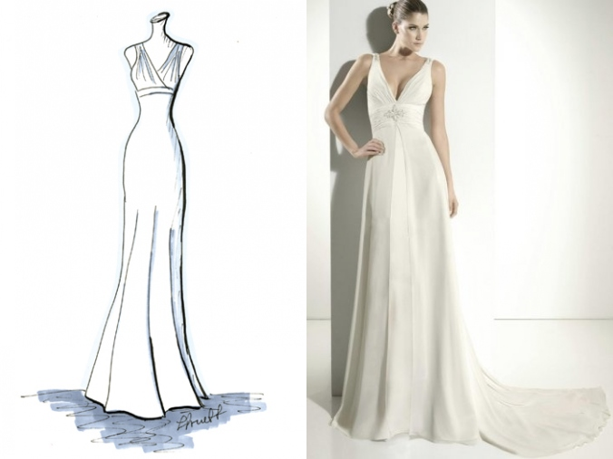 Elegantes V Ausschnitt Empire Brautkleider