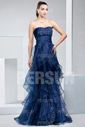 Elegantes Blaues Langes Ballkleid