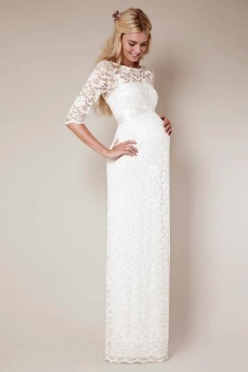 Schönes Brautkleider mit Ärmel für Schwangere