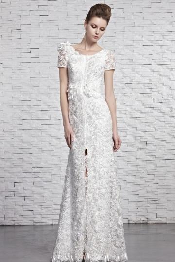 Schönes Weißes Etui Linie Brautlkeider