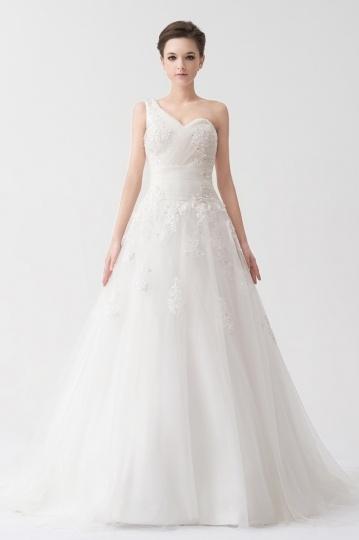 Schönes A Linie Ein Schulter Ivory Brautkleid Online