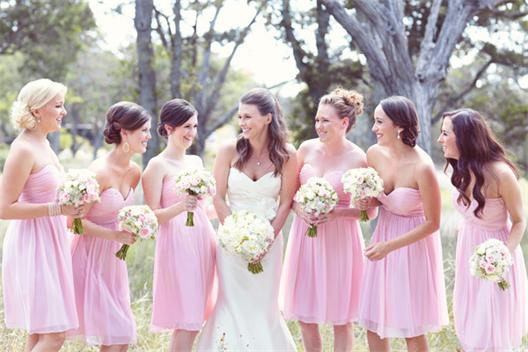 Charming-Pink-Draped-Sweetheart-Flowing-Chiffon-Bridesmaid-Dresses