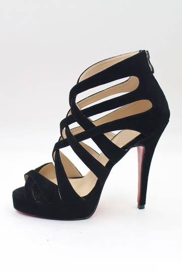Schwarz Band Reißverschluss Sandalen