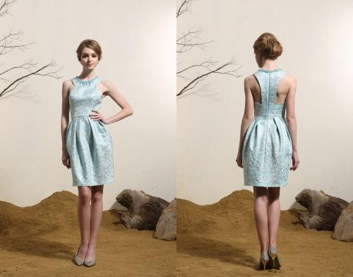 Blau Kurz Etui Linie Abendkleid-Cocktailkleid