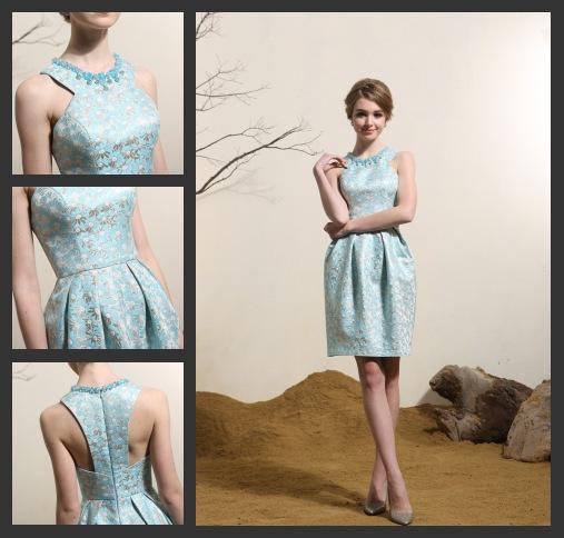 Blaugrün Elegant Kurz Ärmellos Abendkleid-Cocktailkleid