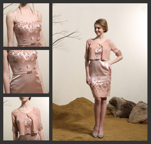 Elegant Rosa Kurz Abendkleid