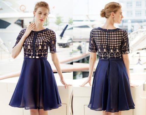 Kurz Blau A Linie Abendkleid mit Ärmeln