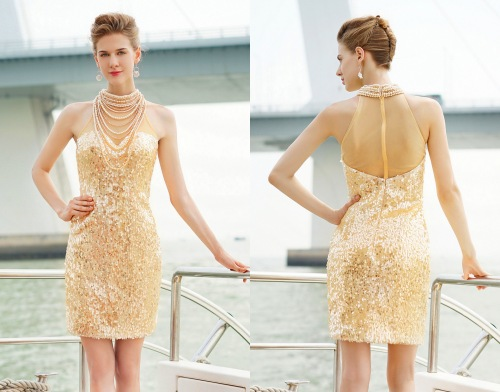 Luxus Gold Kurz Abendkleid-Cocktailkleid