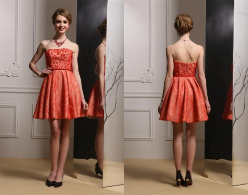 Orange Kurz Trägerlos Abendkleid-Cocktailkleid
