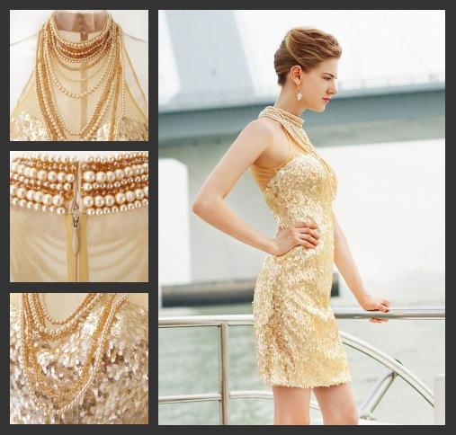 Sexy Gold Kurz Etui Linie Cocktailkleid-Abendkleid