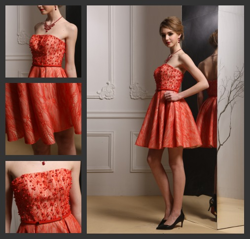 Trägerlos Orange Kurz Abendkleid-Cocktailkleid