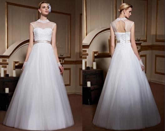 A Linie Tüll Weiß Brautkleider