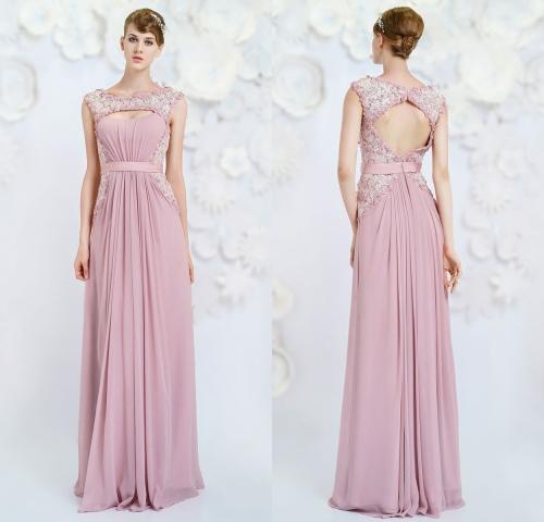 Rosa Lang A Linie Rückenfrei Ärmellos Abendkleid-Persunkleid