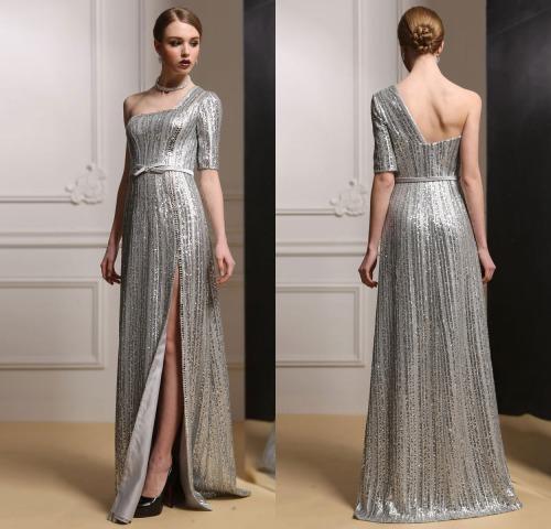 Silber Sequins Lang A Linie Ein Schulter Abendkleid-Persunkleid.de