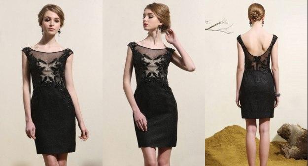 Elegant Schwarz Kurz Etui Linie Abendkleid-Cocktailkleid