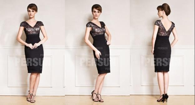 Etui Linie Knielang V Ausschnitt Schwarz Abendkleid