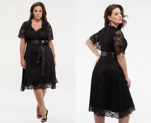 Schwarzes Knielanges Abendkleid in Übergrößen