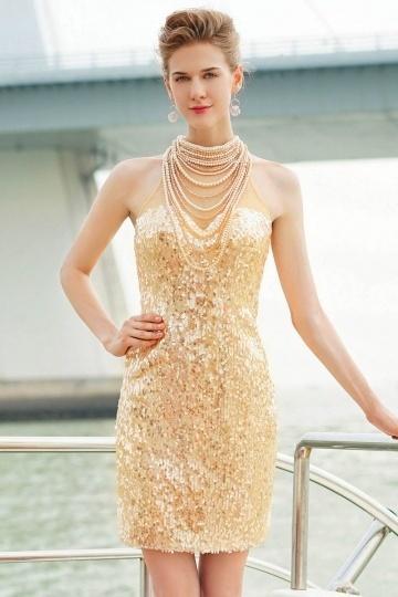 Partykleid-Sexy goldes kurzes Abendkleid aus Sequines
