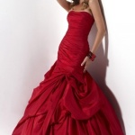 Trägerloses Rotes Meerjungfrau Abendkleid-Persunkleid.de