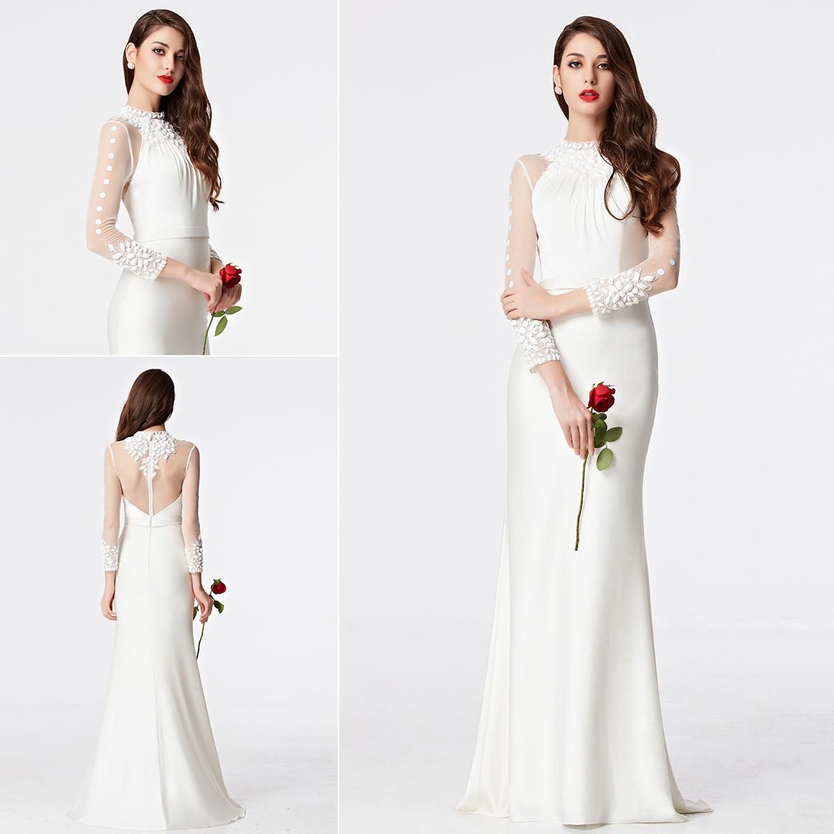 Lang Weiß Trompote Abendkleid Ballkleid mit Ärmeln PERSUNKLEID