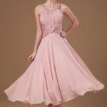 Schön A linie Rosa Kinelang Abendkleid Brautjungfernkleid Brautmutterkleid