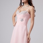 A linie Rosa High Low Chiffon Brautjungfernkleid Cocktailkleid