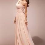 Ein Schulter Lang Rosa Chiffon Brautjungfernkleid Günstig Online