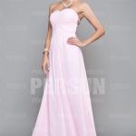 Trägerlos Rosa A Linie Chiffon Abendkleid Brautjungfernkleid