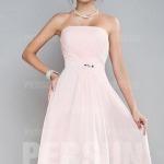 Schlicht A Linie Rosa knielang Brautjugfernkleid Abendkleid