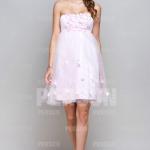 Trägerlos Rosa Knielang Blumen Brautjungfernkleid Partykleid