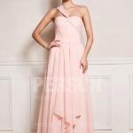 Elegant Lang Rosa A Linie Chiffon Abendkleid