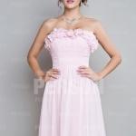 Trägerlos A Linie Knielang Rosa Brautjungfernkleid Abendkleid